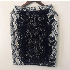 Nikibiki Pencil Skirt/ Lace detailed. Size large